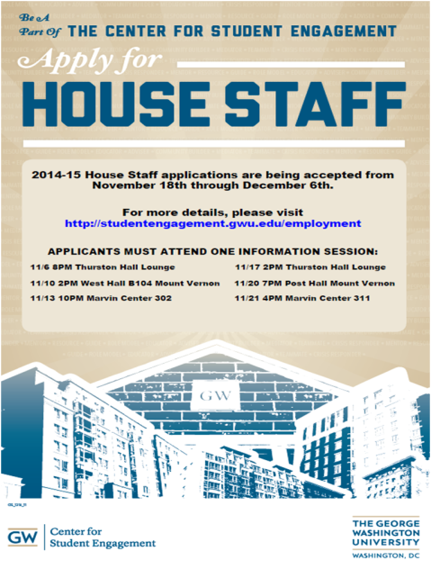 Seeking SEAS Students for 2014-2015 GW House Staff