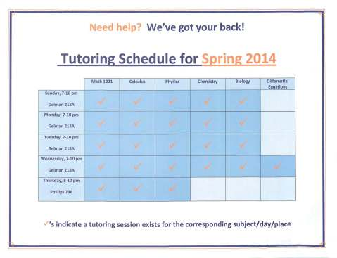 Tutoring Schedule SP14